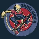 Skull skateboarder vintage badge vector illustration