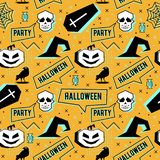 Vector trendy halloween seamless pattern with memphis geometric style of pumpkin, skull, spider web, and horror crow. Fashion arti. Vector skull trendy halloween vector illustration
