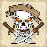 Vector of skull with twin sword on splatter frame Stock Images