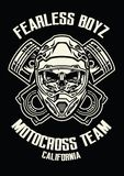 Skull wearing motorcross helmet Royalty Free Stock Photography