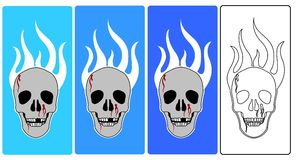 Vector - Skulls. 4 colors of skulls with fire royalty free illustration