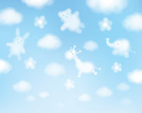 Vector sky background, animals cartoons. Royalty Free Stock Images