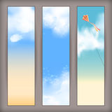 Vector sky banners with white clouds, flying kite. Sky vector banners with white fluffy clouds, blur, flying kite and space for text at the backdrop in blue and Stock Photos