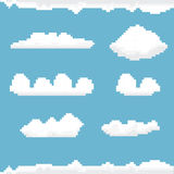 Vector sky with clouds pixel art background. Stock Images