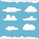Vector sky with clouds pixel art background. Stock Photo