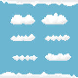 Vector sky with clouds pixel art background. Stock Photography