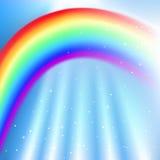 Vector Sky with Rainbow Stock Photography