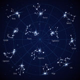 Vector sky star map with constellations stars Royalty Free Stock Photography