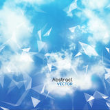 Vector Sky and Triangles Background. Futuristic Technology Background. Dots and Lines Connection. Clouds Background.  Stock Photo