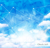 Vector Sky and Triangles Background. Futuristic Technology Background. Dots and Lines Connection. Clouds Background Stock Photography
