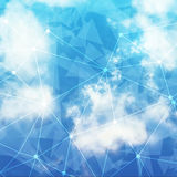 Vector Sky and Triangles Background. Futuristic Technology Background. Dots and Lines Connection. Clouds Background Stock Images