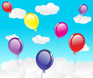 Vector Sky With Clouds And Balloons Royalty Free Stock Photo
