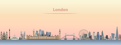 Vector skyline of London city at sunrise. Vector abstract illustration Stock Images