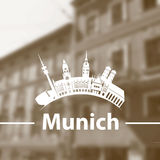 Vector skyline of Munich on blurred background Stock Images