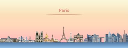 Vector skyline of Paris city at sunrise Royalty Free Stock Image