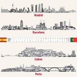 Vector skylines of Madrid, Barcelona, Lisbon and Porto cities in grey scales color palette. Flags and maps of Spain and Portugal. Stock Photos