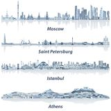Vector cities skylines of Moscow, Saint Petersburg, Istanbul and Athens in soft blue color palette. Vector skylines of Moscow, Saint Petersburg, Istanbul and royalty free illustration