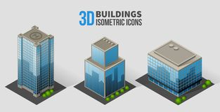 Vector skyscrapers with trees, isometric buildings Stock Photos