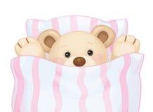 Vector sleeping bear in bed. Royalty Free Stock Photo