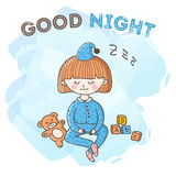 Vector sleeping girl with toys poster. Little kid good night card. Stock Images