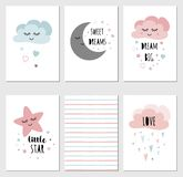 Vector sleepy moon star cloud cards kids designs Childish style pink color Phrases. Set of posters cute sleepy moon star cloud for baby room decoration Dream big royalty free illustration