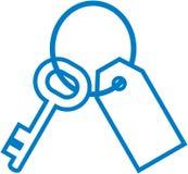 Vector sleutelring met sleutel en etiketillustratie Stock Fotografie