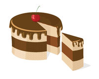 Vector sliced chocolate cake. With delicious cherry for birthday, wedding, etc vector illustration