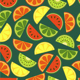 Vector sliced fruits seamless pattern. Fresh of watermelon, oran Royalty Free Stock Photo