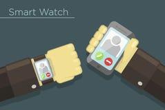 Vector slim horloge en smartphoneconcept Stock Afbeelding