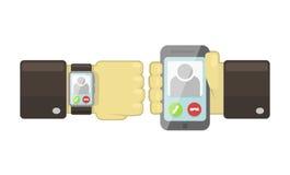 Vector slim horloge en smartphonesynchronisatieconcept Stock Afbeelding