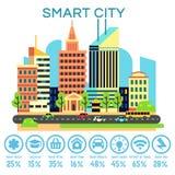 Vector slim stadsconcept met bedrijfstechnologiepictogrammen stock illustratie
