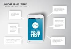 Vector slim telefoon infographic malplaatje vector illustratie