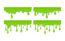 Vector slime drops and blots. Vector set of green slime drops and blots. Collection of radioactive splashes liquid and blobs for halloween design. Paint drips Stock Images