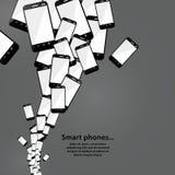 Vector slimme telefoonstroom. Moderne technologie. Hoop van mobiele telefoon Stock Foto