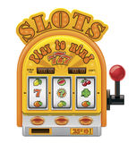 Vector slot machine icon. Detailed vector icon representing slot machine with three reels stock illustration
