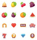 Vector slots symbols icon set. Vector slot machine or slots symbols and icons set royalty free illustration
