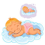 Vector small baby in a diaper asleep using a cloud instead of a pillow. Vector illustration of a small baby in a diaper asleep using a cloud instead of a pillow vector illustration