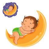 Vector small baby in a diaper asleep using a moon instead of a pillow. Royalty Free Stock Photography