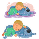 Vector small child falling asleep using his dog instead of a pillow. Vector illustration of a small child falling asleep using his dog instead of a pillow Royalty Free Stock Image