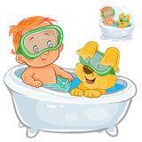 Vector small child in a swimming circle and a diving mask bathes in bathtub with his dog Stock Photo