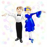 Vector Small elegant dancers. Small elegant dancers, a boy and girl are holding hands in a dance pose Royalty Free Stock Images