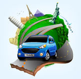 Vector Small Green Planet with Blue Travel Car together with Plane Royalty Free Stock Photo