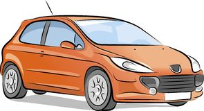 Vector small red car Stock Photography