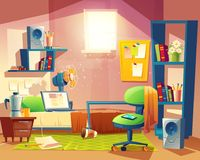 Vector small room, cartoon bedroom with furniture. Vector small room with mess, cartoon bedroom, dormitory with furniture. Student, pupil cozy apartment with bed stock illustration