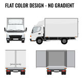 Vector small truck front side. Cargo delivery. Flat color Royalty Free Stock Image