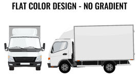 Vector small truck front side. Cargo delivery. Flat color Stock Photography