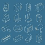 Vector smart home thin line isometric icon set Royalty Free Stock Images