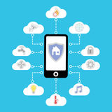 Vector smart home in your phone. Illustration on blue background. Icons in the clouds. Vector smart home in your mobile phone. Illustration on blue background Royalty Free Stock Photo