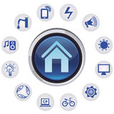 Vector smart house concept. Set with icons and app  signs Royalty Free Stock Photos