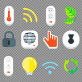 Vector Smart House Flat Tech Icon Set. Vector Flat Tech Icon Set with Wireless Technology, Smart Lock, Security, Eco, Temperature Royalty Free Stock Photos